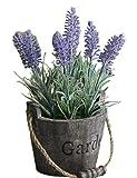 (ADOSSY) 木製バケツ ラベンダー 造花 カントリー雑貨 インテリア レトロ お世話いらず 癒し 装飾 置くだけ (紫 ラベンダー)