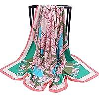 CUBCBIIS 大きなスクエアツイルプリントシルクスカーフ大サイズレディースショール130 * 130cm (Color : Style 2, サイズ : 130*130cm)