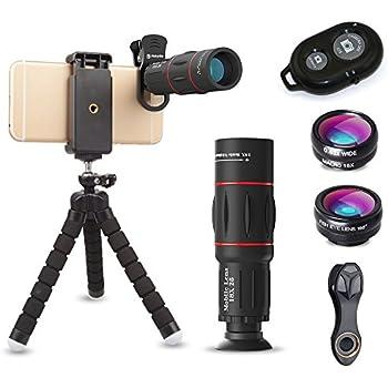 ActyGo (高品質HD18X望遠レンズ付きスマホレンズ4点セット) 正規品 Bluetooth ワイヤレスリモコン ゴリラポッド三脚付き セルカレンズ 198°魚眼 0.63X広角 15Xマクロ iphone/Android 多機種対応 コンパクトサイズ (ブラック) メーカー1年保証 30日間お試し返品保証