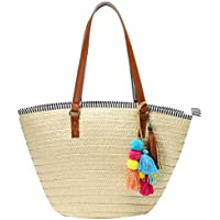 Obosoyo Womens Large Straw Bags Beach Bags Pompom Tote Bag Hobo Summer Handwoven Bags Purse With Tassels