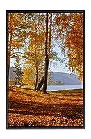木製の枠 ズックの印刷する絵画 家の壁の装飾画 キャンバス ポスター (30x40cm ブラックフレーム) 秋の風景、黄色の葉、木々、湖、山々