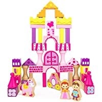 Fairy Tale Kingdom Wooden Building Blocks 50-piece Princess & Prince Play Toy Set in Storage Drum by Imagination Generation [並行輸入品]