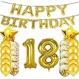 スイートな18歳の誕生日デコレーション パーティー用品 金色の数字の18個の風船 18歳のアルミ風船 ラテックス風船装飾 18歳の誕生日プレゼントに最適 女の子 レディース メンズ 写真小道具