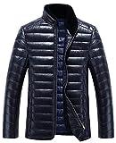 (ラクエスト) Laquest 取り外せる ファー 襟 シープスキン ダウン ジャケット メンズ レザー 本革 (2XL,ネイビー)