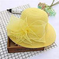 太陽の帽子、夏の花オーガンザレトロな小さな漁師の帽子、太陽の保護折りたたみ太陽の帽子、旅行太陽の帽子の女性 (Color : Yellow)