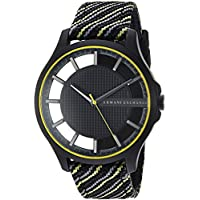 Armani Exchange Black Fabric & Stainless Steel Watch AX2402
