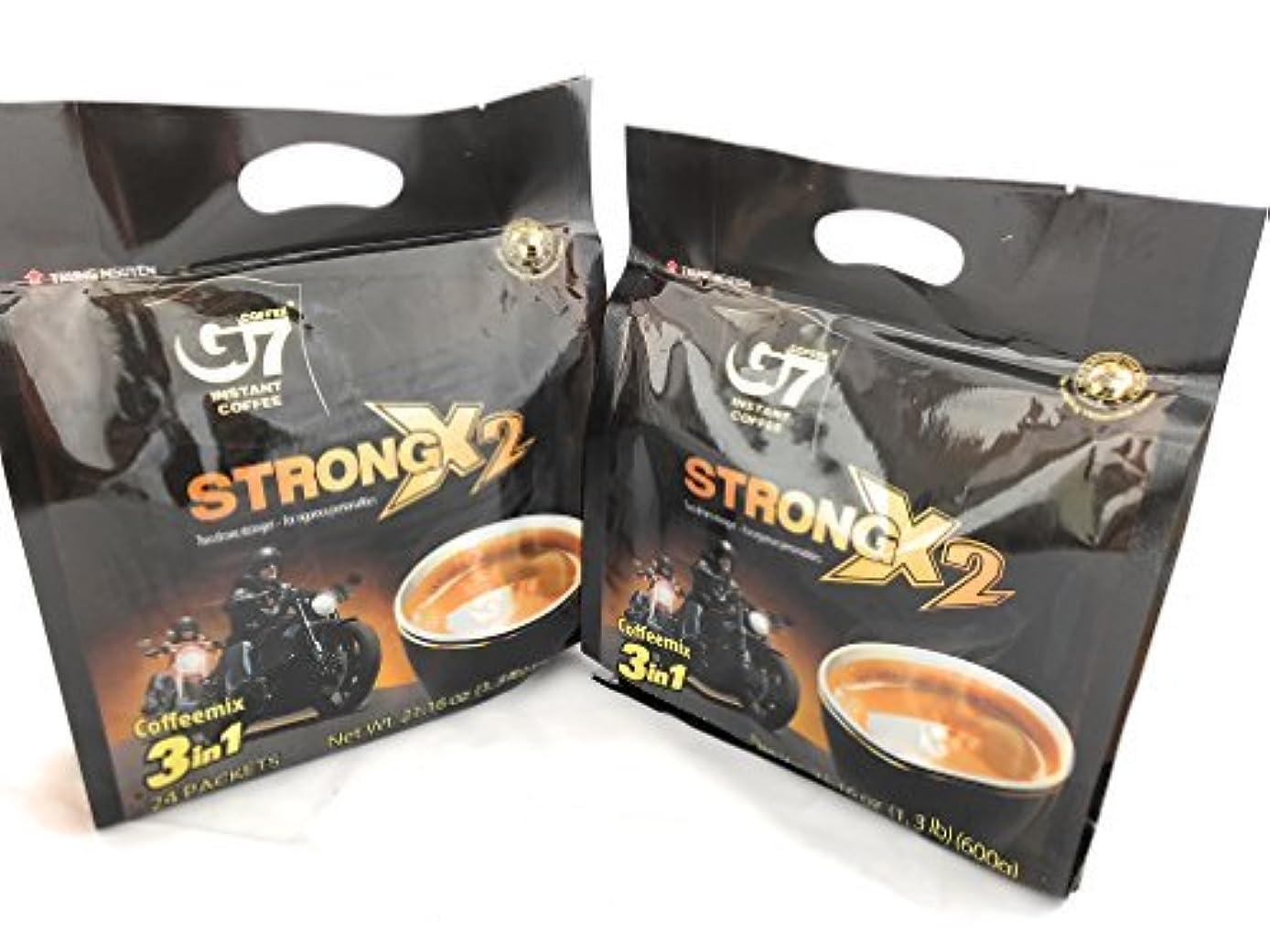 添加剤縫い目再編成するG7 STRONG 2X Vietnamese 3 in 1 Coffee 21.16oz(600g) 24 Sticks (Pack of 2) [並行輸入品]