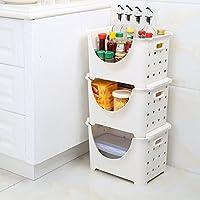 QFFL shounahe キッチン多機能多層収納バスケット/プラスチック家庭用積み上げ可能棚/省スペース中空収納ボックス(3パック) (色 : 白)