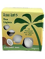 Aloha Bay - 100% 植物性パーム ワックス茶軽い蝋燭無香料ホワイト - 12パック