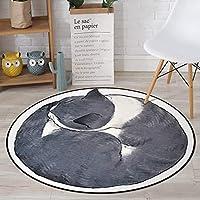 子供の寝室の敷物漫画猫ラウンドカーペットファッションホームデコレーションベビークライミングラグ,Color1,diameter180cm