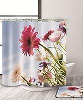LIANGJUN シャワーカーテン 自然の花の3D印刷シャワーカーテン防水Mouldproofの浴室のカーテンフック(11サイズ) (色 : B, サイズ さいず : 150*200CM)
