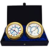 WindlassギフトセットTime & Tide Clock &バロメーターby master-mariner、ゴールド仕上げ、アイボリーフラグダイヤル