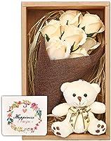 ソープフラワー 花束 ブーケ テディベア プレゼント ギフト お祝い (白)