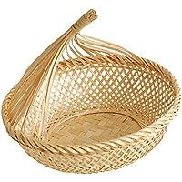 Fenteer 自然 竹 パン バスケット ストレージ フルーツ ディスプレイ トレイ 野菜 バスケット 全3種選べる  - #3, L