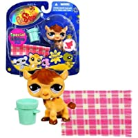 Hasbro Year 2009 Littlest Pet Shop Portable Pets Special Edition Pet Happiest Series Bobble Head Pet Figure Set #997 - Fuzzy Brown Camel with Bucket and Blanket by Littlest Pet Shop [並行輸入品]
