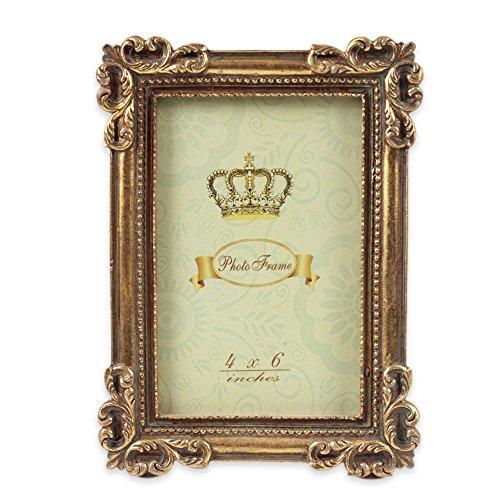 アンティークフォトフレーム 写真立て 卓上 壁掛け 縦 横 両用 ゴールド