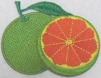 ワッペン みかん グリーンxオレンジ E-94