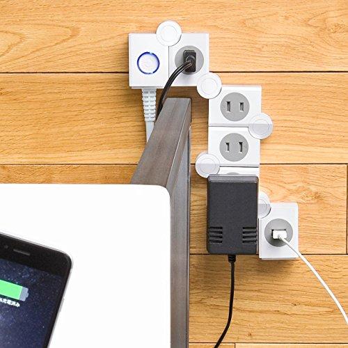 サンワサプライ 便利タップ 2P 4個口 USB充電ポート付きホワイト TAP-B51W