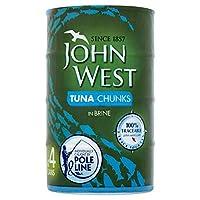 [John West ] ジョン西マグロチャンクはポール・ライン4×160グラムをブライン - John West Tuna Chunks Brine Pole & Line 4 x 160g [並行輸入品]