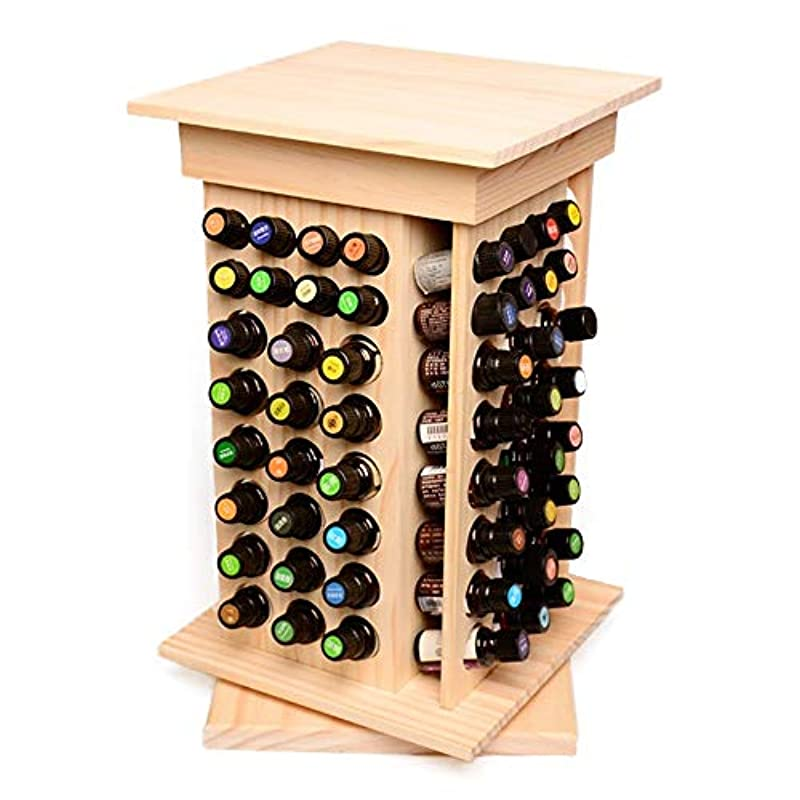 全体に慈悲厳104スロット木製オイルケースホルダーパーフェクトエッセンシャルオイルストレージ アロマセラピー製品 (色 : Natural, サイズ : 40.5X23.5X23.5CM)