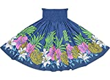 ★オーダーメイドでお作りします(75cm4本ゴム、ロック仕上げ)★フラダンス用スカート【丈とゴム本数が選べる】青のパウスカート ハイビスカス・リリー・ピンクッション柄 2487BL