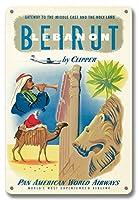 22cm x 30cmヴィンテージハワイアンティンサイン - クリッパーによってベイルート、レバノン - パンアメリカン航空 - 中東と中東へのゲートウェイ - ビンテージな航空会社のポスター c.1951