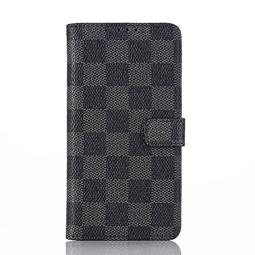HUAZAI ソニー Xperia Z3 Compact ケース SO-02G カバー スマホケース レザーケース エクスぺリア ゼット3 コンパクト カバー チェック柄 グリッド 手帳型 手帳ケース シンプル 上品 スロット付き スタンドでき リングスタンド贈り 「ブラック」
