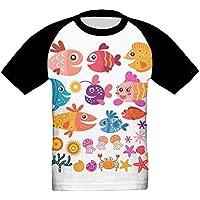 かわいい魚の家族 かっこいい ベビー フロントプリント半袖 Tシャツ快適 子供 夏 トップ おもしろい 上着