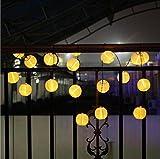 「Kbook」ソーラー充電式led イルミネーションライト 提灯型 ランタン 伝統気持ち 光セーサー内蔵 自動的にON/OFF パーティー・イベントに装飾用提灯 パーティーグッズ クリスマスライト ウェディング 夏祭り、お正月、人形祭りなど伝統的なお祭りに 屋内外 10球/20球 マルチカラー/ウォームホワイト (10球, ウォームホワイト)