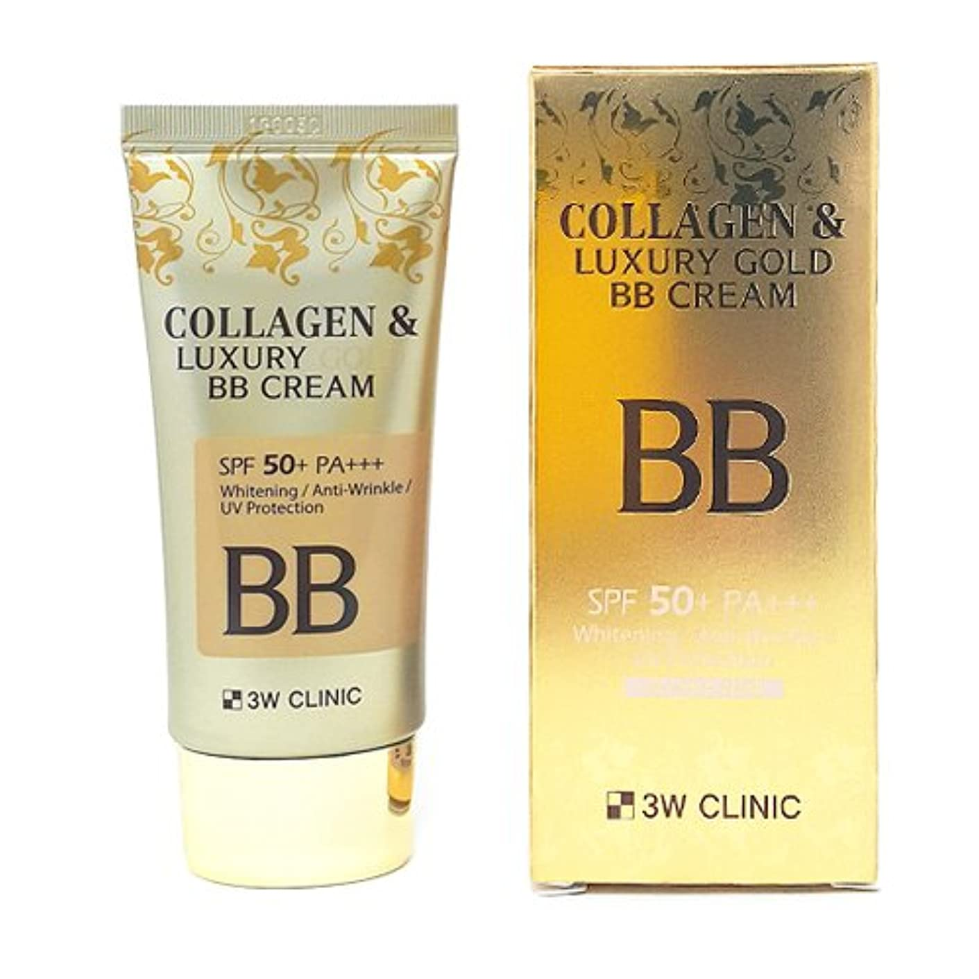 ベースなめらかな慈悲3Wクリニック[韓国コスメ3w Clinic]Collagen & Luxury Gold BB Cream コラーゲンラグジュアリーゴールド BBクリーム50ml 50+/PA+++[並行輸入品]