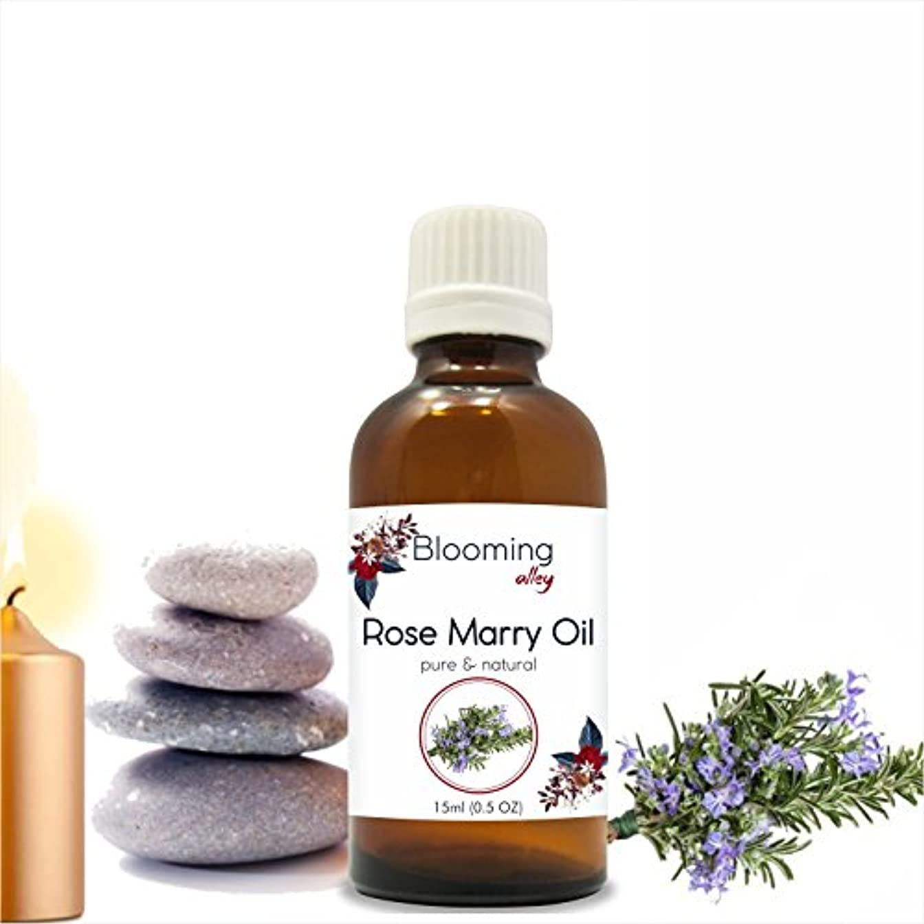 保守的弾丸売るRose Marry Oil (Rosmarinus Officinalis) Essential Oil 15 ml or .50 Fl Oz by Blooming Alley