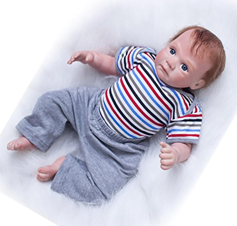 (Gray) - NPK Handmade Reborn Baby Doll Soft Vinyl Silicone 50cm Magnetic Mouth Baby Doll (grey)