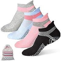 HUISEN Pilates Ballet Barre Yoga Socks for Women Non-Slip Grips & Sticky Grippers Socks Barefoot Workout