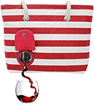 PortoVino Beach Tote - Wine Handbag with Hidden, Insulated Compartment, Holds 2 Bottles of Wine! Red & W