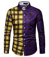maweisong メンズチェック柄ロングスリーブカジュアル襟チェックシャツダウンシャツドレス Purple XS