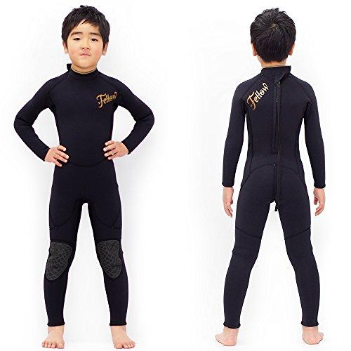 ウェットスーツ キッズ フルスーツ 3mm  FELLOW 子供 ウェットスーツ サーフィン ウエットスーツ 日本規格 (BLACK, 140)