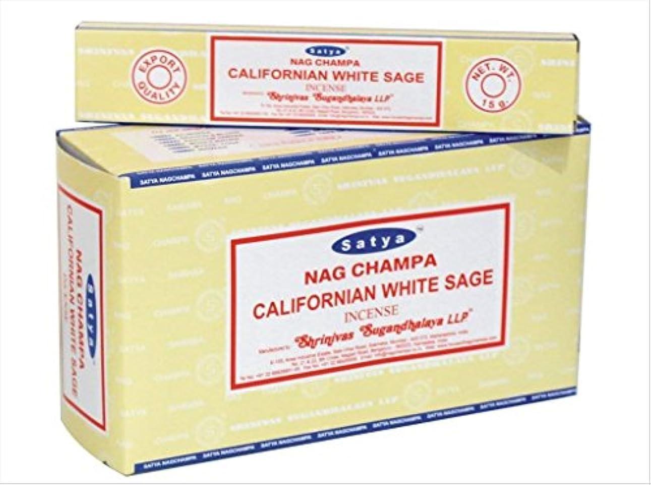 安定した亡命敵chi-city Mall Satya Nag Champa Californianホワイトセージお香 署名Fragrance   Net Wt : 15 g x 12ボックス= 180 g   Exclusivelyインド...