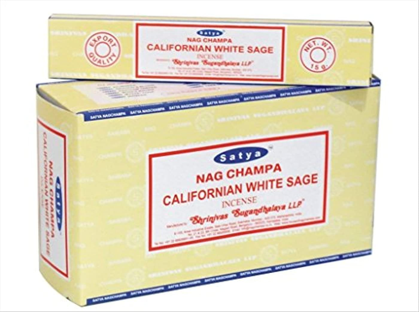 chi-city Mall Satya Nag Champa Californianホワイトセージお香|署名Fragrance | Net Wt : 15 g x 12ボックス= 180 g | Exclusivelyインド...