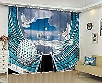 NANNAN Home 3Dデジタル印刷パターンカーテン人格リビングルームの寝室のバルコニー出窓プリント遮光カーテン、幅220cm×高さ180cm (Color : 67 Inches Wide X 65 Inches High)