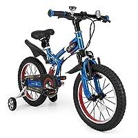 子供用自転車 補助輪付き MINI 16インチ 前後サス付き[RSZ1605] MINIライセンス自転車 補助輪 サスペンション付き 自転車 【カンタン組立】 (ブルー)
