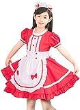 メイドさん 風 キッズドレス 子供用 メイド服 キッズ用コスチューム エプロン 赤 Sサイズ 100cm w002S