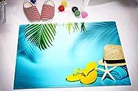 LBクール夏の印刷インテリアラグバスルーム床、洗濯機可マイクロファイバーサーフェス非スリップBacking、休日休暇to Sea 15.7X 23.6インチ