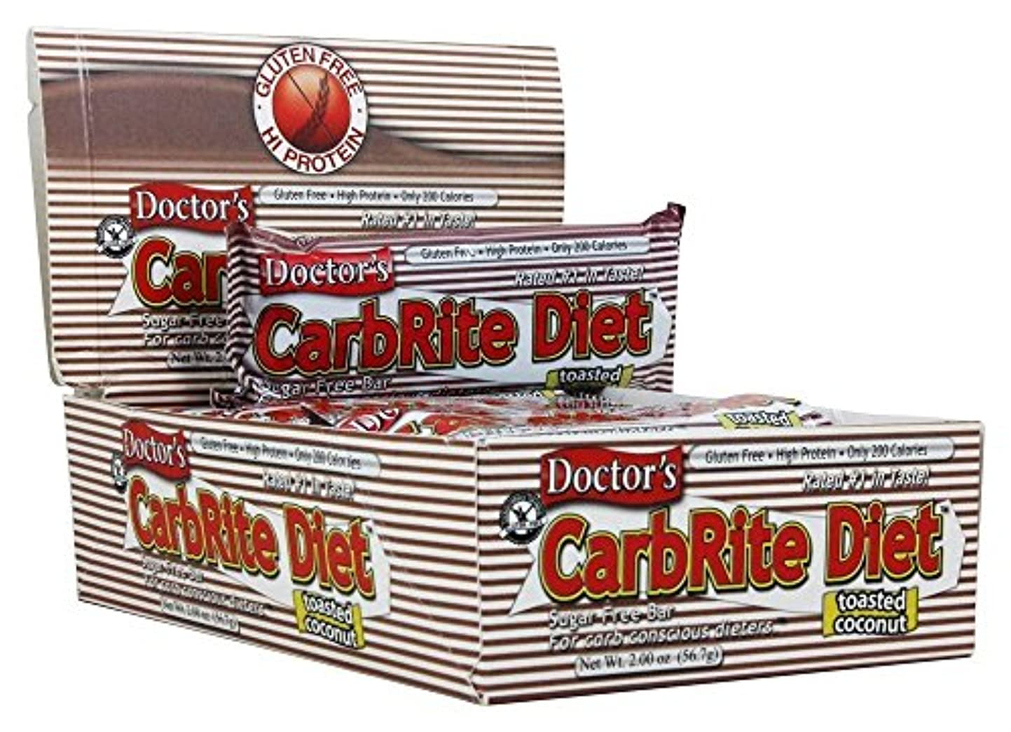 火曜日ミケランジェロ厚いDoctor's CarbRite Diet Toasted Coconut Bars, 2 oz, 12 count by Universal Nutrition