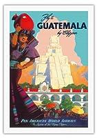 クリッパーによってグアテマラ - パンアメリカン航空 - ティカルマヤ - ビンテージな航空会社のポスター によって作成された マーウ・ファン・アレンバーグ c.1949 - 美しいポスターアート
