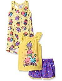 Komar Kids Girls ' 3 Piece Sleepwearアイスクリームパンツセットwith印刷ガウン