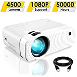 "Mini Projector, ELEPHAS 4500 Lumens Portable Projector Max 180"" Display 50000 Hours Lamp Life LED Video Projector Support 1080P, Compatible with USB/HD/SD/AV/VGA for Home Theater (White)"