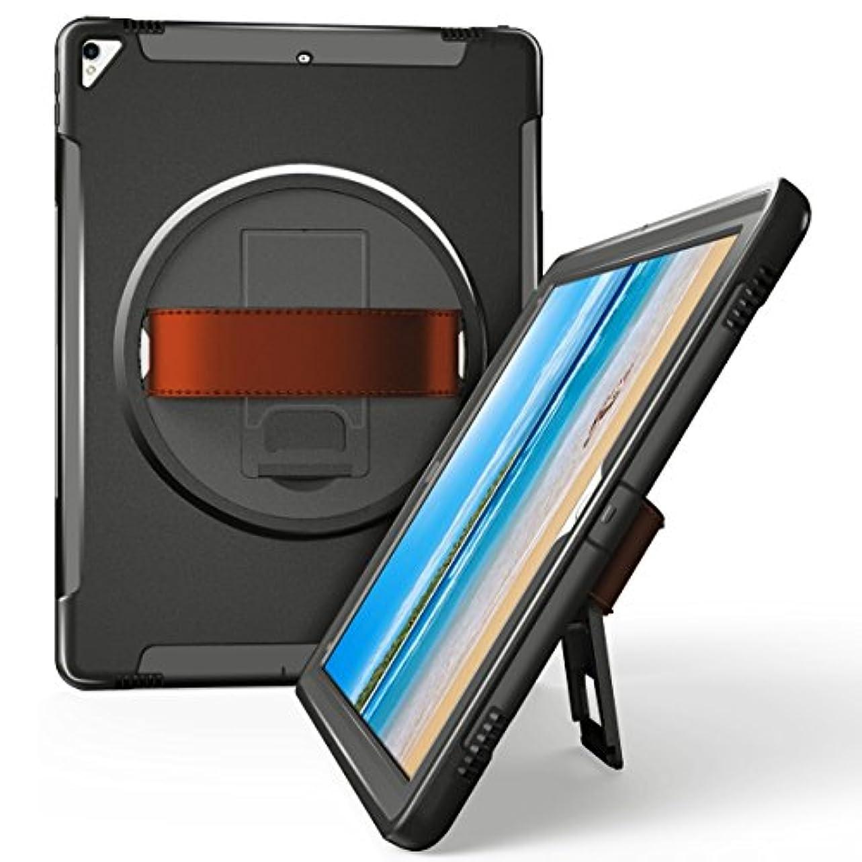 菊呪いバルコニーFINON【多機能ハイブリッドタブレットケース】iPad Pro 12.9 インチ 2017/2015 版 専用 [スタンド+ハンドストラップ+保護キャップ 一体型モデル] 本体カラー:ブラック ベルトカラー:ブラウン 簡易パッケージ