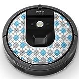 iRobot ルンバ Roomba 専用スキンシール ステッカー 960 980 対応 アーガイル柄 模様 水色 011702