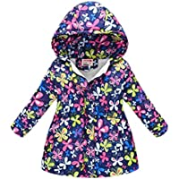 Macondoo Girls Coat Print Winter Hoodie Zipper Cotton-Padded Down Jacket