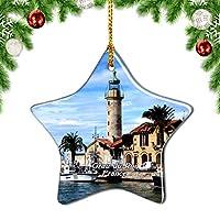 Weekinoフランスルグラウデュロワクリスマスデコレーションオーナメントクリスマスツリーペンダントデコレーションシティトラベルお土産コレクション磁器3インチ
